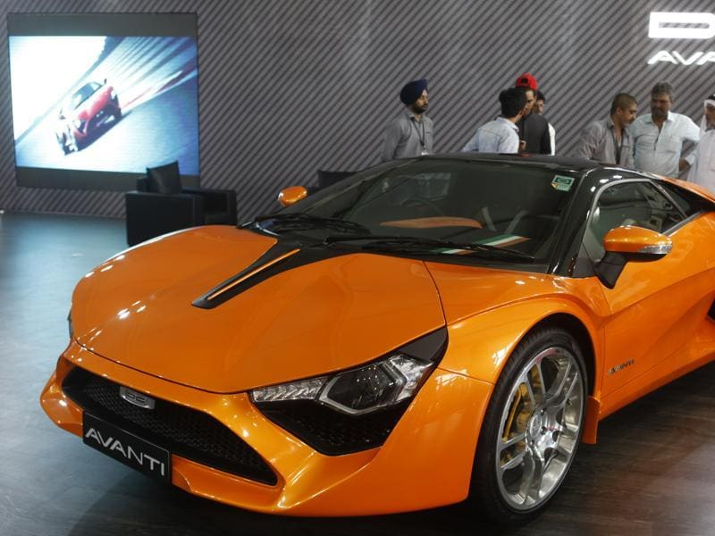 This Dilip Chhabria (DC) Avanti model was unveiled to the public for the first time at the auto show.  (Satish Bate/HT)