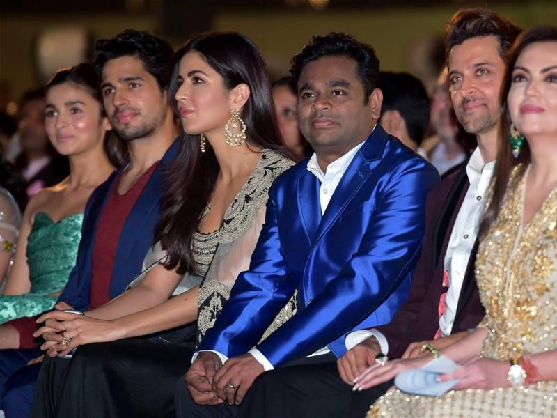 Bollywood actors Alia Bhatt, Sidharth Malhotra, Katrina Kaif, composer AR Rahman and  Hrithik Roshan seen along with Neeta Ambani during the opening ceremony of 17th edition of Jio MAMI Mumbai Film Festival, in Mumbai on Thursday.  (PTI)