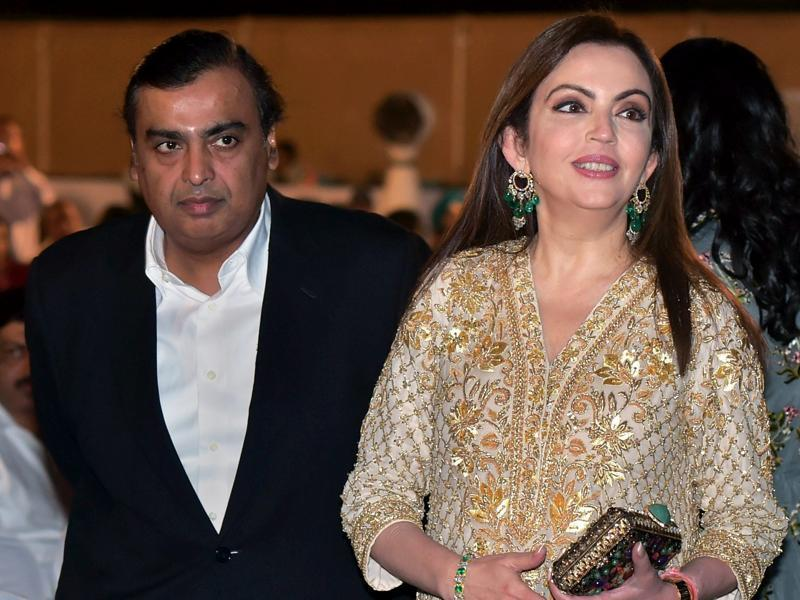 Industrialist Mukesh Ambani with wife Neeta Ambani during the opening ceremony of 17th edition of Jio MAMI Mumbai Film Festival, in Mumbai on Thursday.  (PTI)