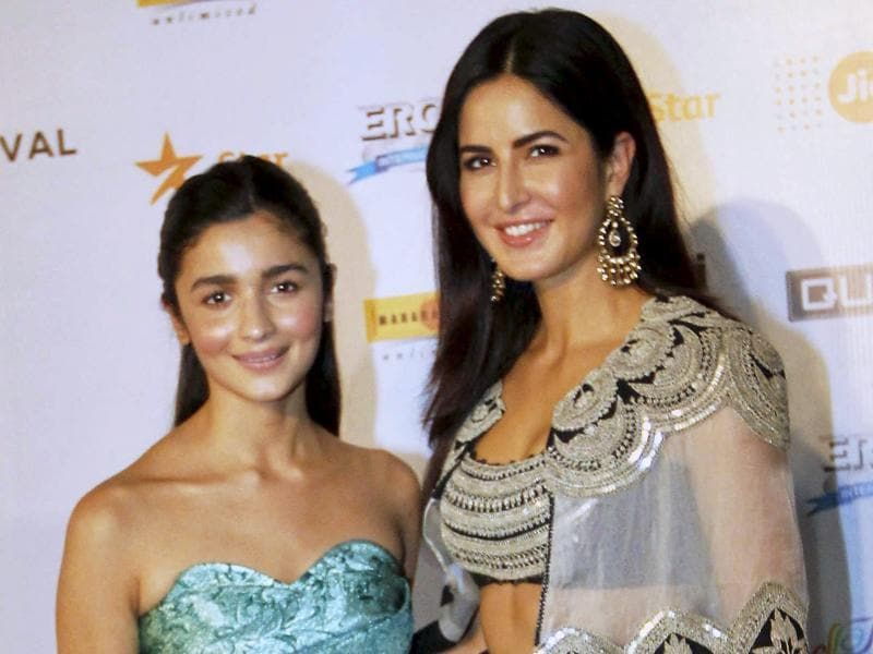 Bollywood actors Katrina Kaif and Alia Bhatt during the opening ceremony of Jio MAMI 17th Mumbai Film Festival.  (PTI)