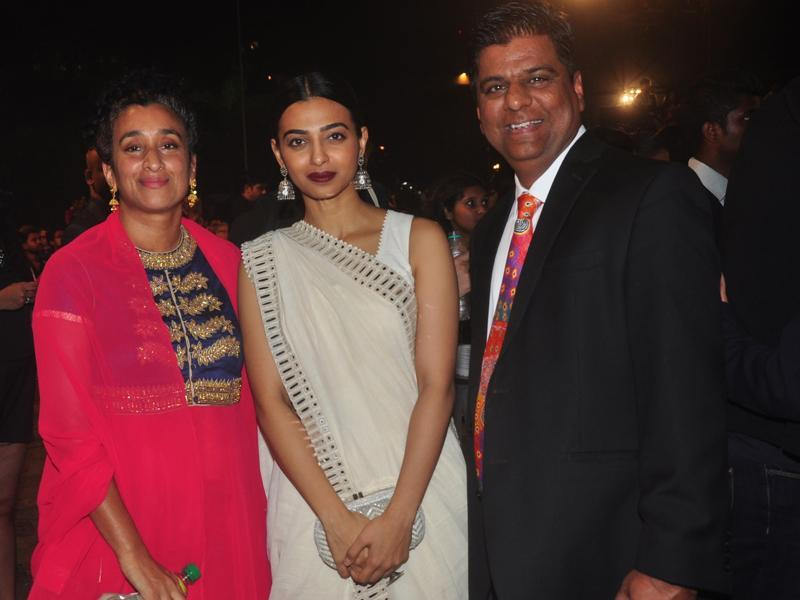 Director Geeta Gandbhir, actor Radhika Apte and international fimmaker Irfan Izhar during Jio MAMI 17th Mumbai Film Festival Opening Ceremony.  (IANS)
