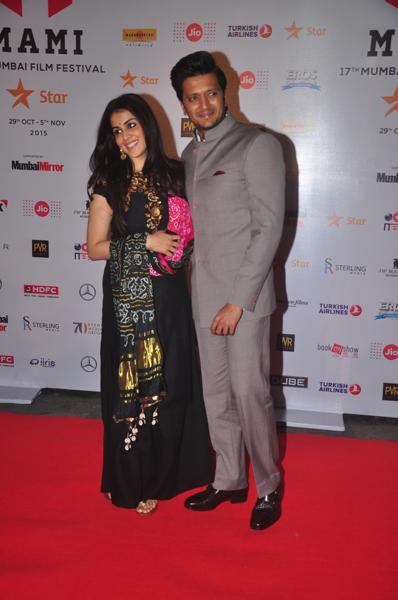 Genelia and Ritesh Deshmukh during Jio MAMI 17th Mumbai Film Festival Opening Ceremony in Mumbai. (IANS)
