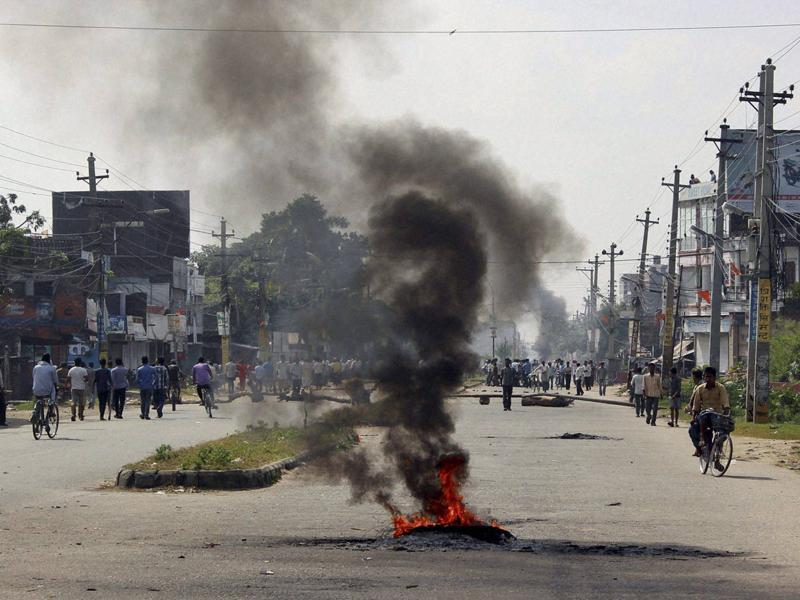 Smoke bellows from tyres  set on fire  by the ethnic Madhesis at Birgunj, a town on the border with India, Nepal on Monday. (AP Photo)