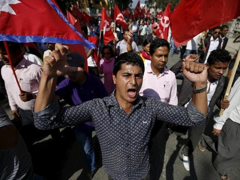 Demonstrators affiliated with various political parties take part in an anti-India protest in Kathmandu, Nepal. (Reuters Photo)