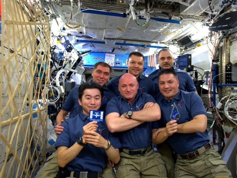 Astronaut Scott Kelly shared a picture of the astronauts celebrating 15 years on the International Space Station. (Photo courtesy: nasa.gov)