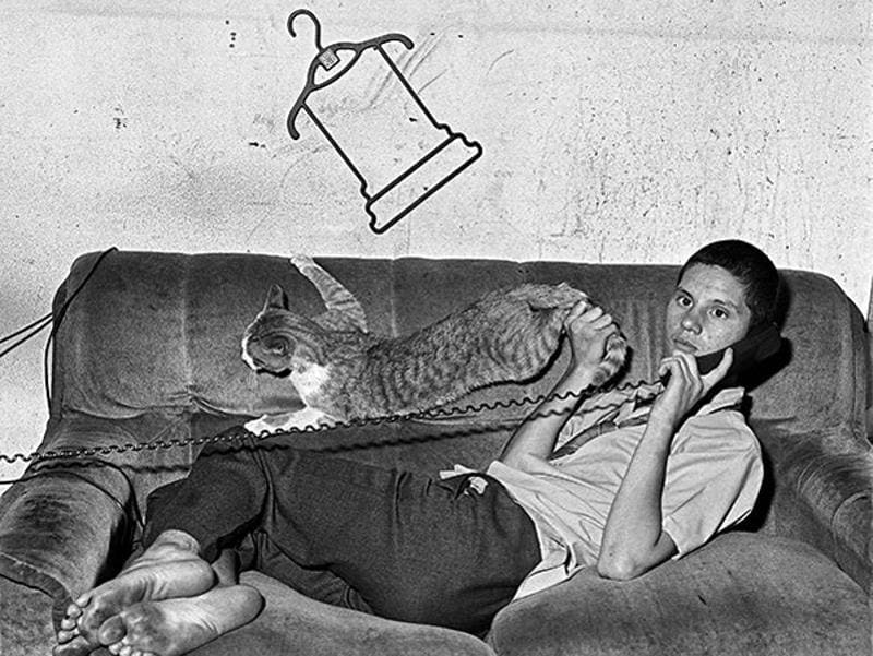 'Eugene On The Phone' (2000) from the series, Outland. (Roger Ballen and PHOTOINK)