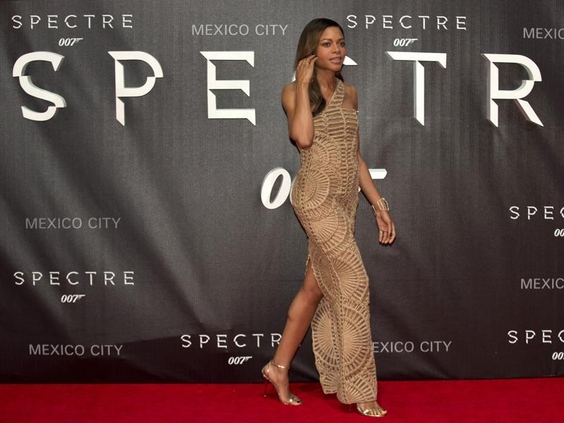 Actor Naomie Harris, who plats Moneypenny, walks the red carpet at the regional premiere of the latest James Bond film, Spectre, at the National Auditorium in Mexico City. (AP)