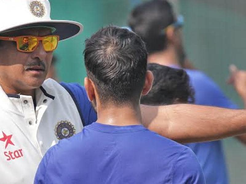 India's team director Ravi Shastri  guides a player for match against South Africa.  (HT Photo )