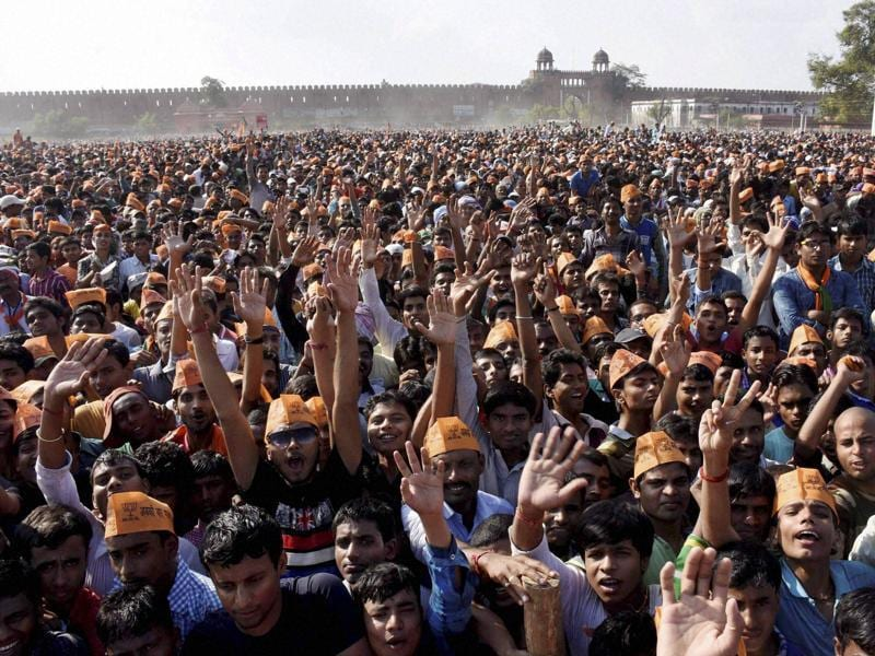 BJP supporters during Prime Minister Narendra Modi's election rally in Darbhanga on Monday.  (PTI)