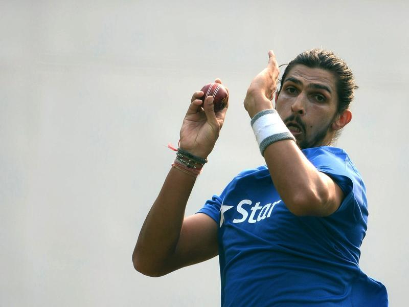 Ishant Sharma bowls in the nets during a training session on the eve of the first Test match. (AFP)