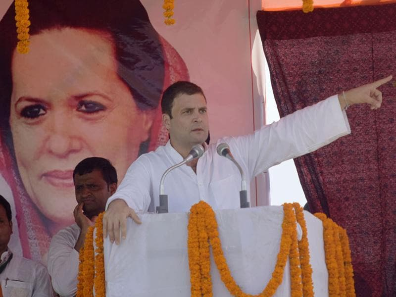 Congress Vice President Rahul Gandhi during an election rally at Araria district of Bihar. (HT Photo)