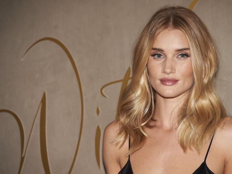 British model Rosie Huntington-Whiteley at the London premiere of Burberry Festive Film. (AFP)