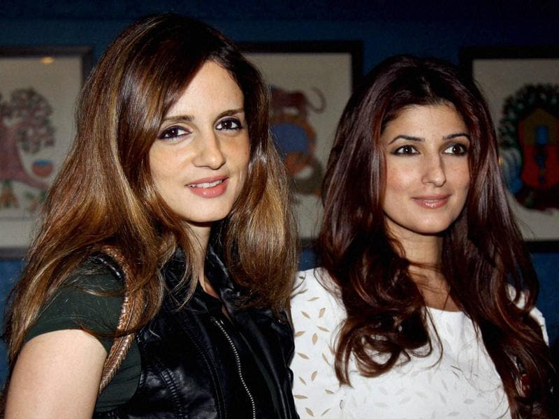 Twinkle Khanna with Sussanne Khan during the launch of festive pop-up at The White Window in Mumbai. (PTI)
