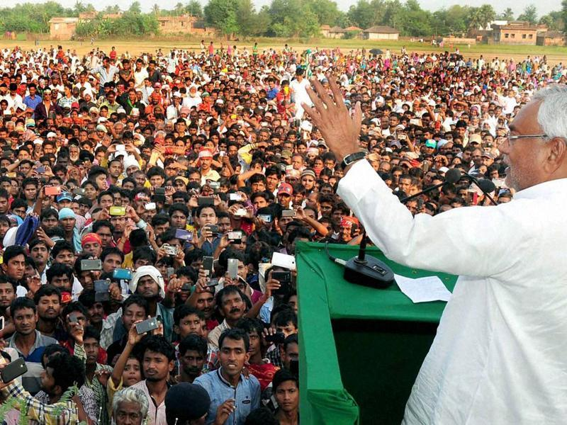 Bihar chief minister Nitish Kumar addressing an election rally in Kusheshwarsthan on Tuesday.  (PTI)