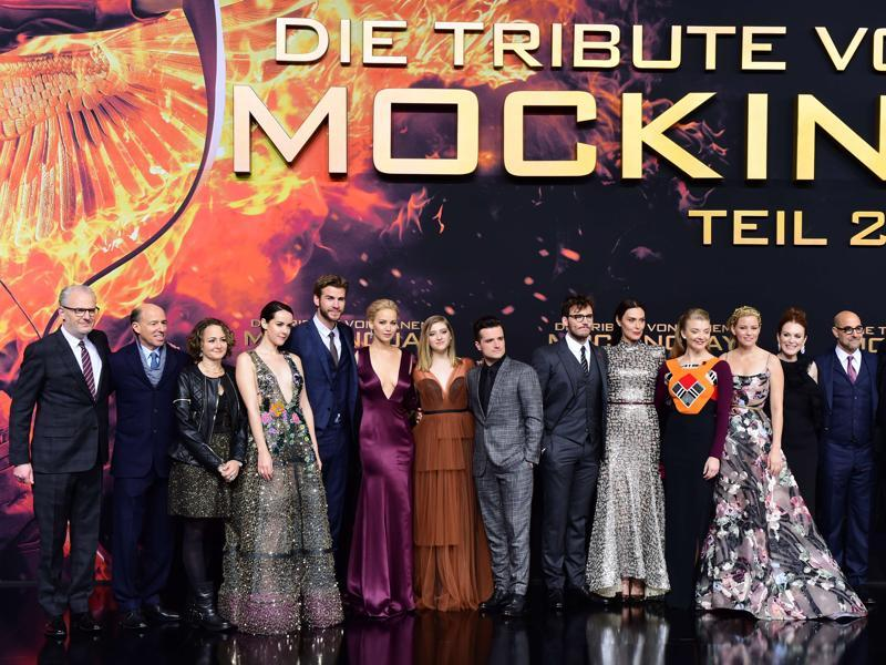 The cast of The Hunger Games: Mockingjay — Part 2 poses for photographers on the red carpet premiere in Berlin. (AFP)
