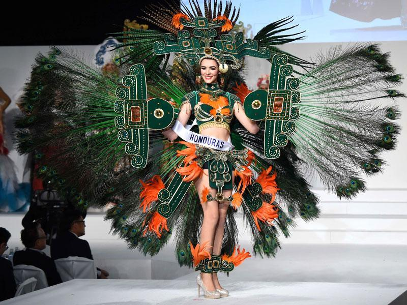 Miss Honduras Jennifer Valle displays her national costume during the Miss International beauty pageant in Tokyo on November 5. (AFP)