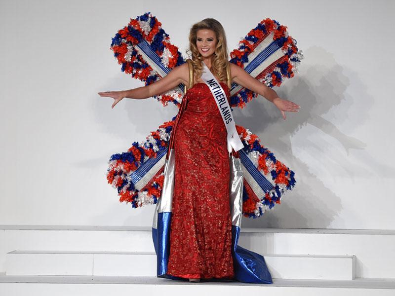 Miss Netherlands Rachel van der Meulen in a windmill-inspired costume representing her nation.  (AFP)