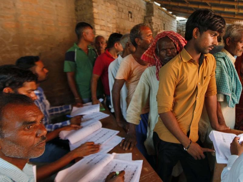 The first phase of the polls recorded 57% voter turnout, followed by 55%, 53% and 57% in the second, third and fourth phases respectively. (Arvind Yadav/ HT Photo)