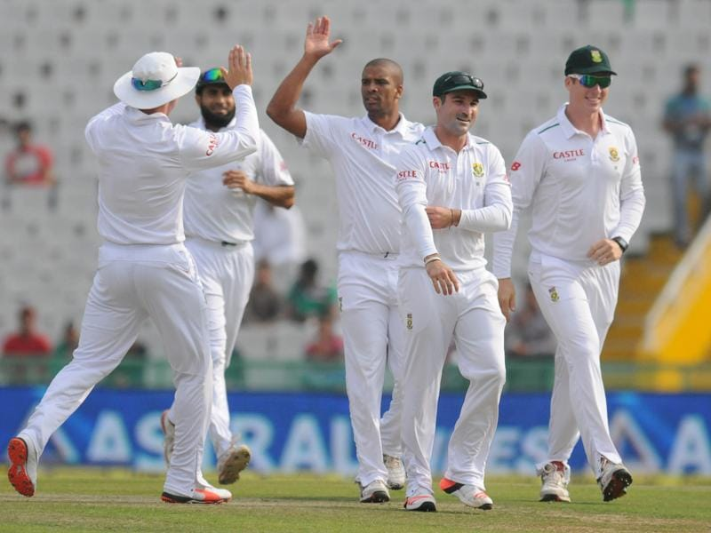 South Africa celebrates as S. Dhawan  is clean bowled by Vernon Philander during the test match being played at PCA stadium, Mohali on Thursday. (Gurpreet Singh/HT)