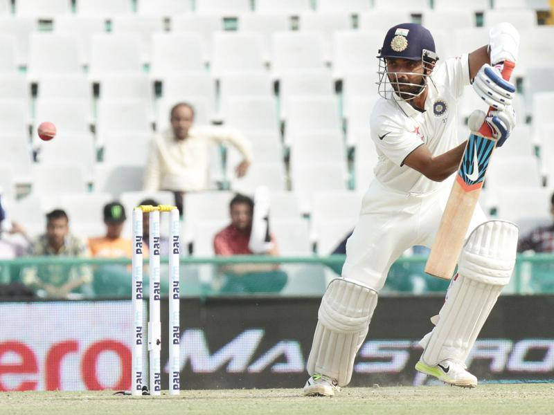 Indian batsman Ajinkya Rahane plays a shot during the first test match between India and South Africa at PCA stadium, Mohali on Thursday.  (Gurpreet Singh/HT)