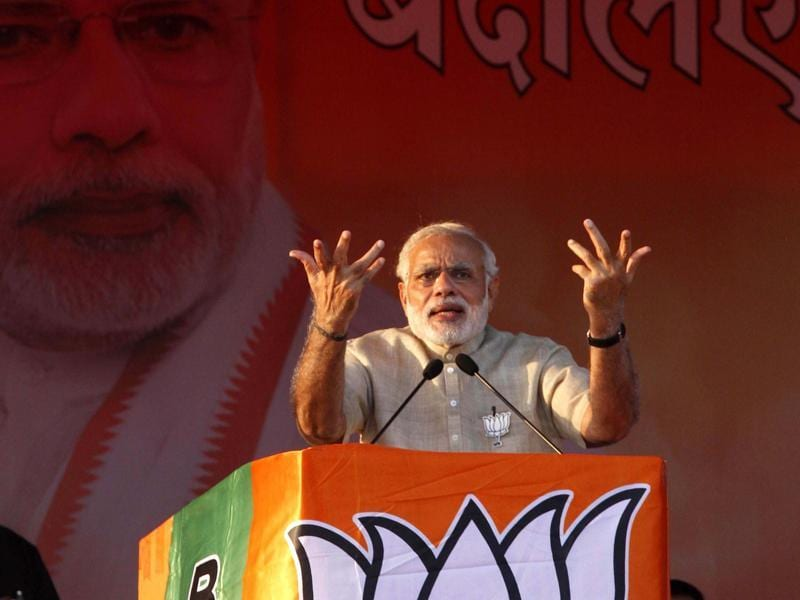 Prime Minister Narendra Modi addresses a rally at Naubatpur, near Patna. (Arvind yadav/ HT Photo)
