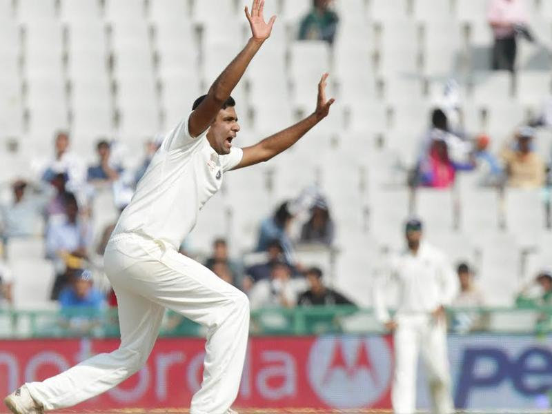 Ravichandran Ashwin appeals for the wicket of South Africa's Kagiso Rabada. (Gurpreet Singh/HT Photo )