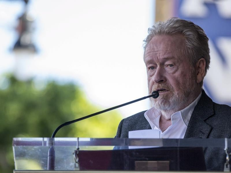 Director Ridley Scott speaks before unveiling his star on the Hollywood Walk of Fame in Los Angeles. (REUTERS)