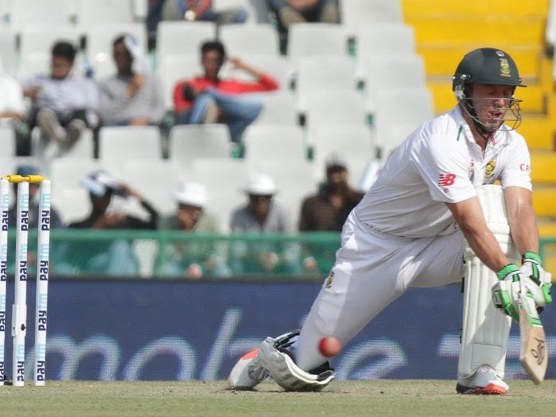 South Africa  batsman Ab De Villiers plays a shot on the second day of the first Test against India at the PCA stadium in Mohali on November 6, 2015. (Gurpreet Singh/HT Photo )