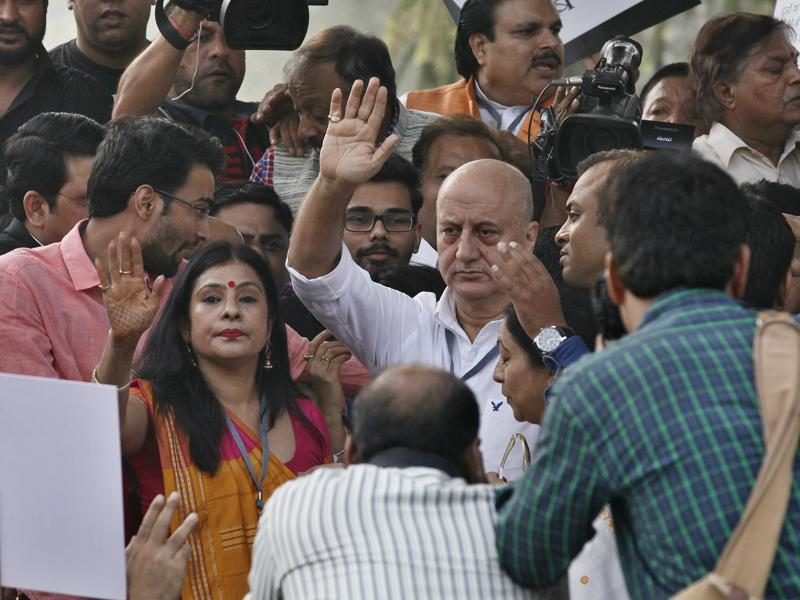 """This march is a symbolic gesture on part of a lot of people over here who say India is one and free of intolerance,""actor Anupam Kher said at the rally. (Raj K Raj/ HT Photo)"
