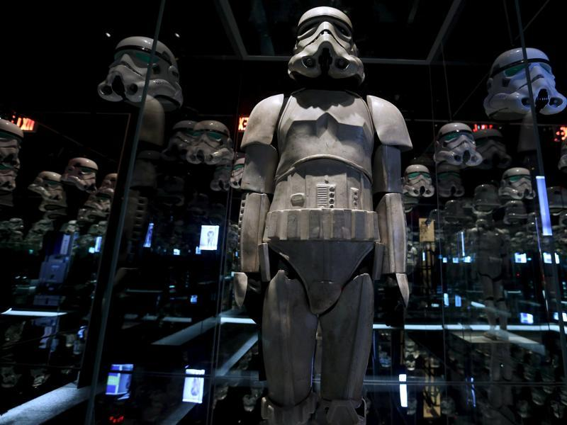 A Stormtrooper costume used in Star Wars on display at the Discovery Store Times Square. (REUTERS)