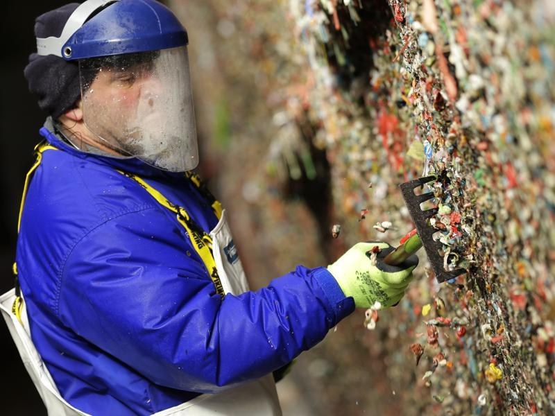 Seattle's famous Gum Wall at Pike Place Market is set to go. Tourists and locals have been sticking their used chewing gum on the walls for the past 20 years. But authorities have decided to clean the wall. (AP)