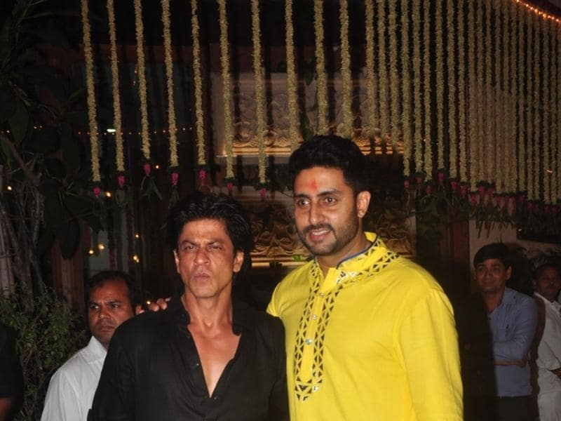 Abhishek Bachchan and Shah Rukh Khan at Amitabh Bachchan`s Diwali party on Nov 11, 2015.  (IANS)