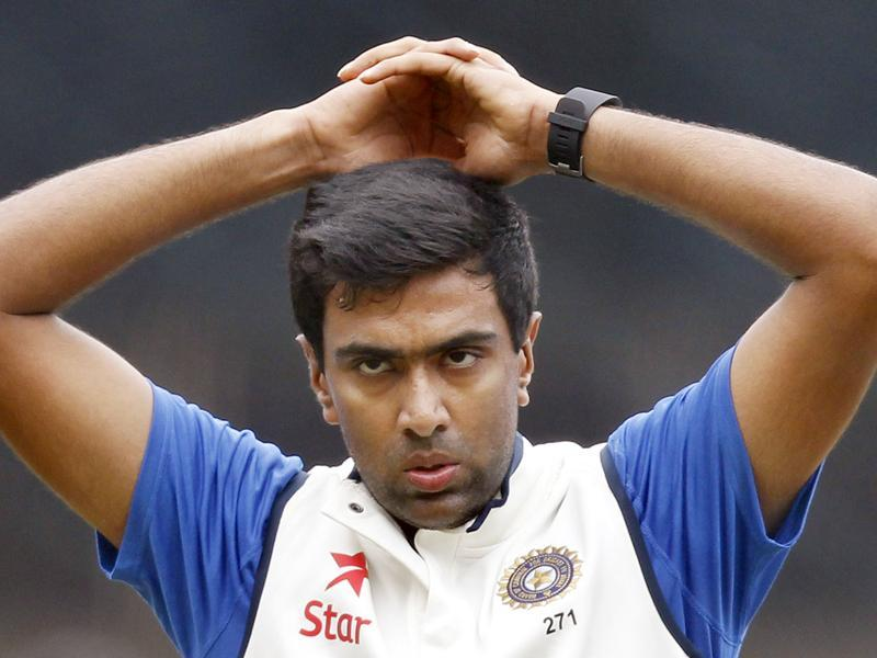 Cricket player Ravichandran Ashwin pauses for a moment during a practice session at M Chinnaswamy stadium, in Bengaluru.  (Ajay Aggarwal/ HT Photo)