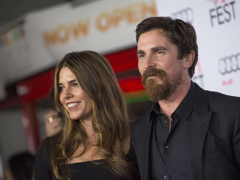 Christian Bale and his wife Sibi Blazic  pose at the premiere of The Big Short at the AFI Fest Closing Night Gala in Hollywood, California. (AFP)