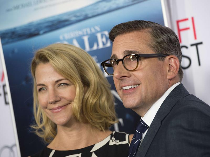 Steve Carell and his wife Nancy arrive at the AFI Fest World Premiere Closing Night Gala Screening of The Big Short. (AFP)