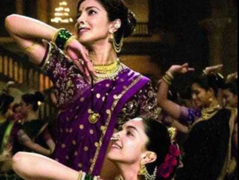 Priyanka Chopra shared a picture from her upcoming track Pinga where she and Deepika are having a Dola Re type musical face-off. The two will be seen together in Bajirao Mastani. (Twitter)