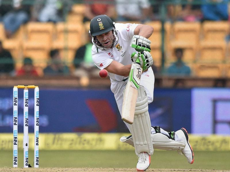AB de Villiers dances down the track to hit a shot. (PTI Photo)