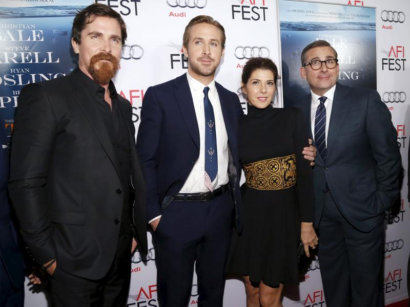 Christian Bale, Ryan Gosling, Marisa Tomei and Steve Carell pose at the premiere of the Wall Street drama The Big Short during the closing night of AFI Fest 2015 in Hollywood. (REUTERS)