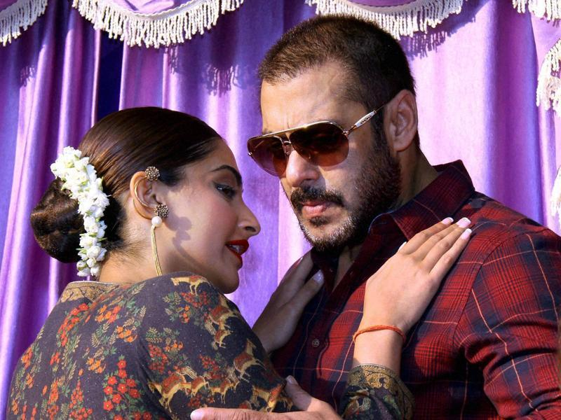 Bollywood actors Salman Khan and Sonam Kapoor during a promotional event in Mumbai.  (PTI)