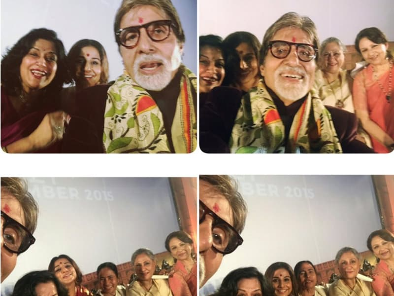 And here's the final product which Vidya Balan posted on Twitter. If Big B was trying to edit himself out of the photos, he was not very successful at it.