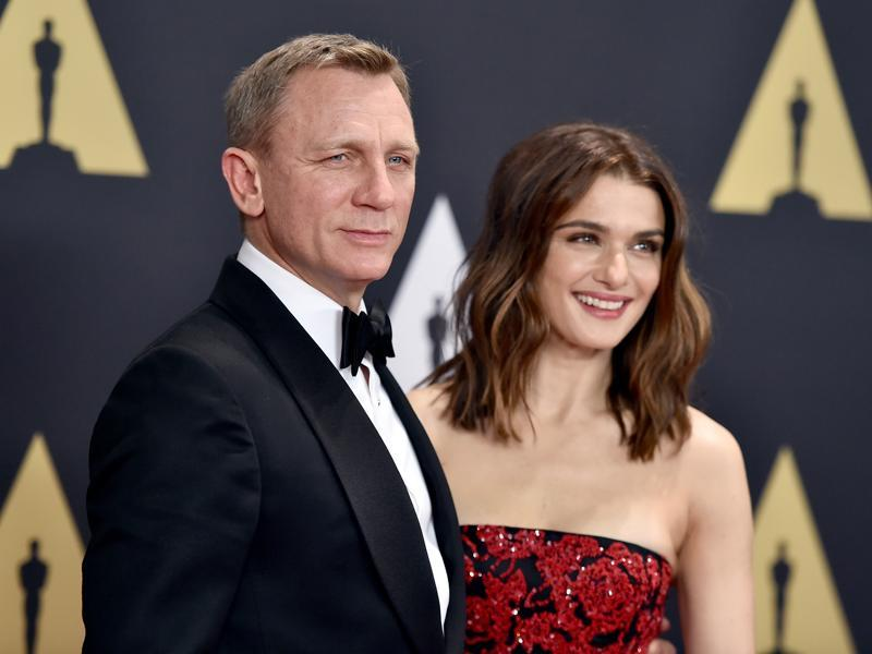 Daniel Craig and his wife Rachel Weisz arrive for the Governors Awards at the Dolby Ballroom in Los Angeles. (AP)