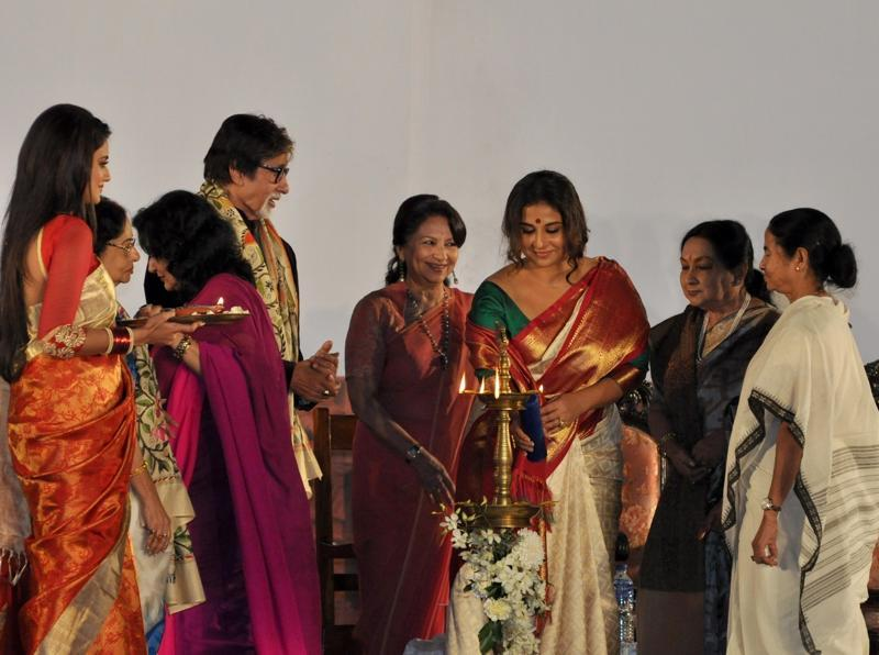 West Bengal Chief Minister Mamata Banerjee with actors Amitabh Bachchan, Jaya Bachchan, Vidya Balan, Sharmila Tagore, Moushumi Chatterjee, Prosenjit Chatterjee , Sandhya Roy and others during the inauguration of the 21st Kolkata International Film Festival in Kolkata. (IANS)