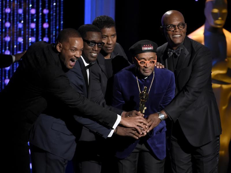 Will Smith, Wesley Snipes, Denzel Washington, Spike Lee, honorary Oscar recipient, and Samuel L Jackson pose onstage at the Governors Awards at the Dolby Ballroom in LA. (AP)