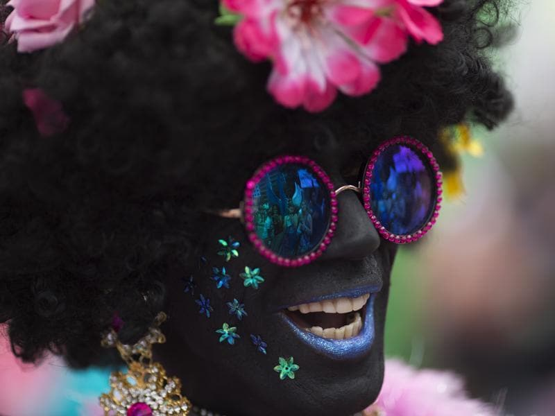 Yet another participant strikes a pose during the Gay Pride Parade in Rio de Janeiro, Brazil on Sunday. (AP)