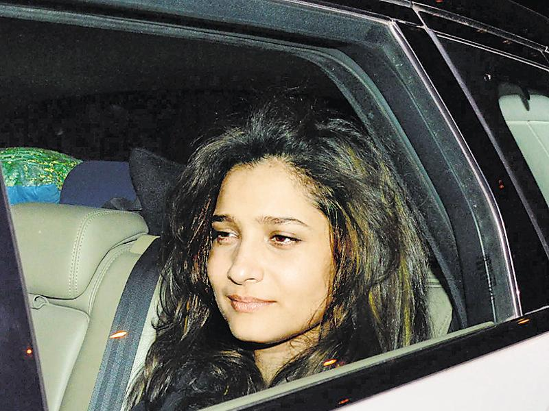 A sleepy Ankita Lokhande at Sania Mirza's birthday party. (Photo: Yogen Shah/HT)