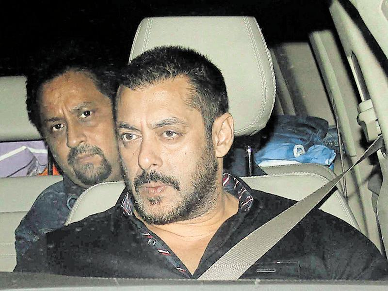 Salman Khan also attended the high-profile birthday party of Sania Mirza. (Photo: Yogen Shah/HT)