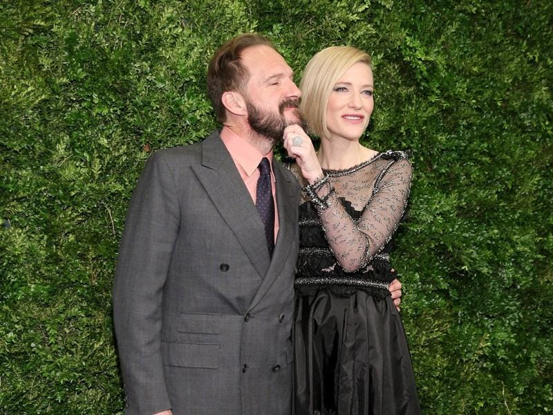 Ralph Fiennes (L) and Cate Blanchett attend the Museum of Modern Art's 8th Annual Film Benefit in New York City.  (AFP)