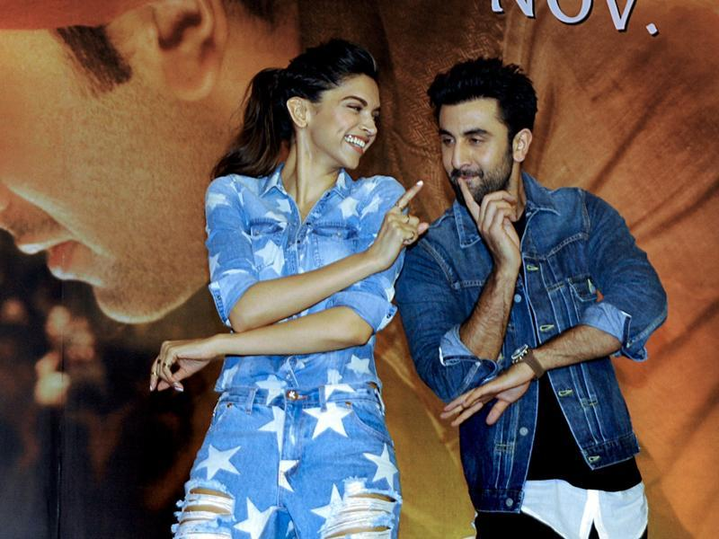 Going retro with the moves: Deepika Padukone and Ranbir Kapoor pose during the promotional event for Tamasha. (AFP)