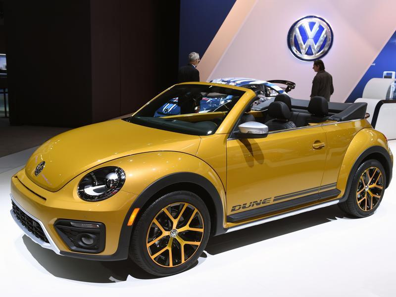 Loved worldover for its cute-looks, the 2016 Volkswagen Beetle Dune, with a ferocious engine under the hood, displayed at the 2015 Los Angeles Auto Show. (AFP)