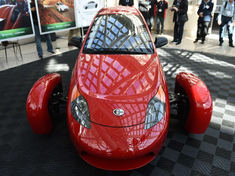 The P5 is a prototype from the start up Elio Motors. The three-wheeled electric vehicle, at a base price of $6,800, is expected to reach 84 miles per gallon with its 0.9L, 3-cylinder engine. (AFP)